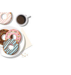 donuts and and cup of coffee on the white vector image