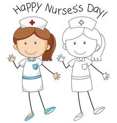 Doodle nurse character on white background vector