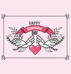 doves with heart and ribbon to valentines day vector image