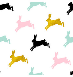 easter seamless pattern with rabbits vector image