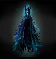 Evil spirit in black ragged cloak vector