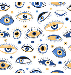 Eye pattern abstract evil eyes fabric print vector