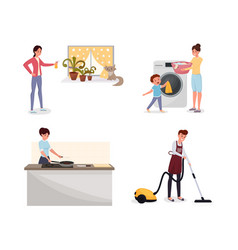 Family doing housework flat set man vector
