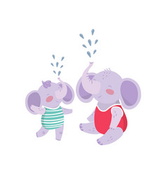 father elephant and his son having fun together vector image