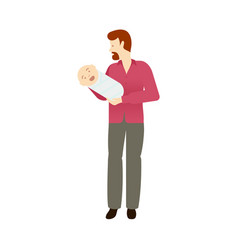 flat adult red-haired man and infant baby vector image