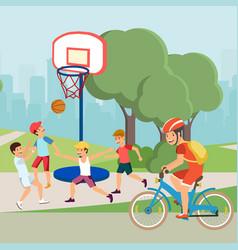Flat cartoon active teenagers characters do sport vector