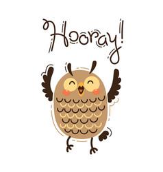 Funny owl yells hooray vector