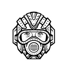 Futuristic face mask face covering or space vector