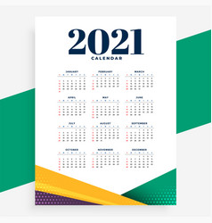 Geometric 2021 modern calendar design template vector