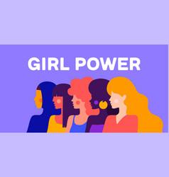 girl power modern flat characters vector image