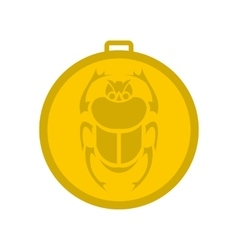 Gold scarab amulet icon flat style vector