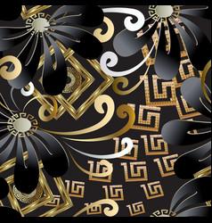 greek floral decorative seamless pattern vector image