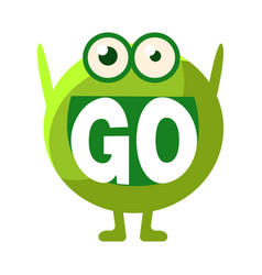 Green blob saying go cute emoji character vector
