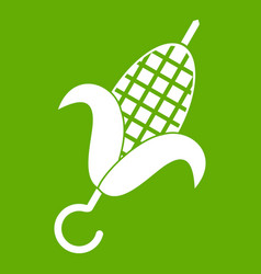Grilled corn cob icon green vector