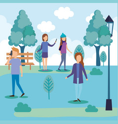 group of people on the park vector image