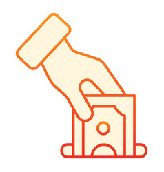 Hand putting money flat icon deposit orange icons vector