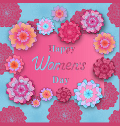 happy womens day greeting card with flowers in vector image