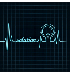 heartbeat make solution word and light-bulb vector image