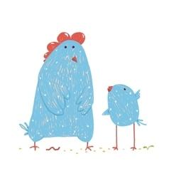 Hen and chicken childish cartoon vector image