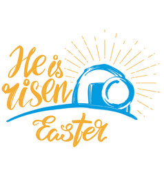 Holy easter holiday religious calligraphic text vector