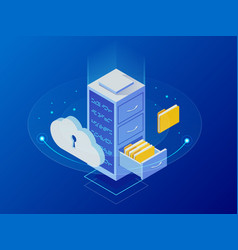 isometric cloud computing concept represented by a vector image
