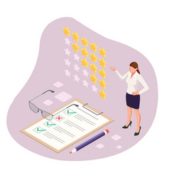 isometric feedback review rating concept of vector image