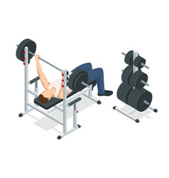isometric man in gym exercising on the bench press vector image