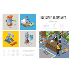 isometric robotic assistants infographic template vector image