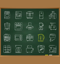 Kitchen appliance chalk draw line icons set vector