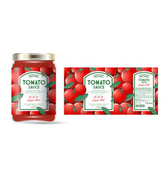 Label packaging jar tomato hot sauce pattern vector