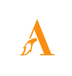 letter a with fox tail logo design vector image