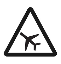Low flying aircraft sign line icon vector