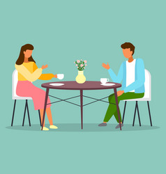 man and woman sitting at table with coffee vector image