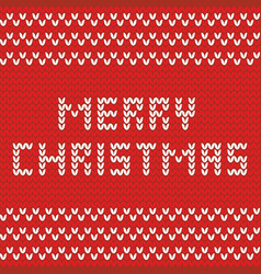 Merry christmas red knitting card vector