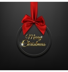 Merry Christmas round banner with red ribbon and vector image
