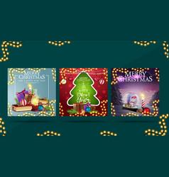 merry christmas set greeting postcards vector image