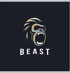 minimalist powerful gorilla logo icon vector image