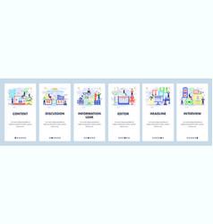 Mobile app onboarding screens media and newspaper vector