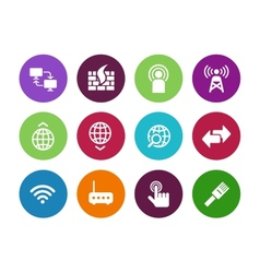 Networking circle icons on white background vector