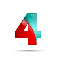 Number four 4 colorful 3d volume icon design for vector image