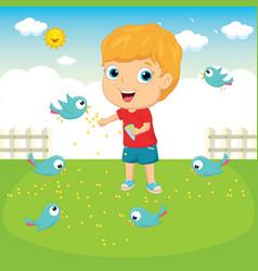 Of a kid feeding birds vector