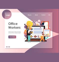 office workers website landing page design vector image