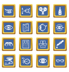 Ophthalmologist icons set blue square vector