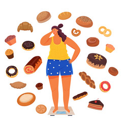Overweight girl on scalessurrounded pastries vector