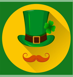 patricks hat green hat with four leaf clover vector image
