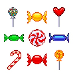 Pixel candies for games icons set vector image