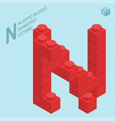 plastic blocs letter n vector image