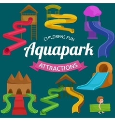 Plastic slides for water park on a white vector