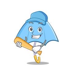 playing baseball blue umbrella character cartoon vector image