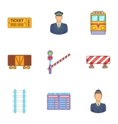 Railway icons set cartoon style vector